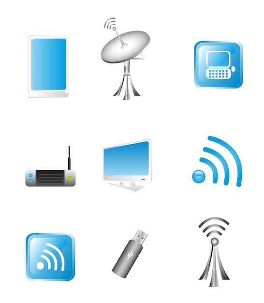 Tecnología inalámbrica y vector de iconos de comunicación Vector Premium