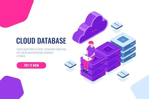 Tecnología informática en la nube, almacenamiento y procesamiento de datos grandes, sala de servidores, base de datos y centro de datos vector gratuito