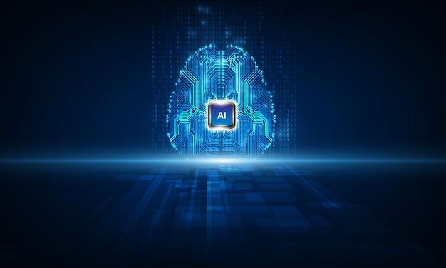 Tecnología inteligencia artificial cerebro Vector Premium