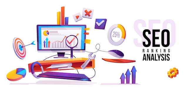 Tecnología de internet de análisis de ranking seo vector gratuito