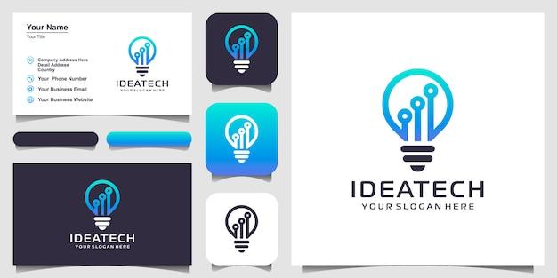 Tecnología de lámpara de bombilla en el diseño del logotipo de circuit Vector Premium