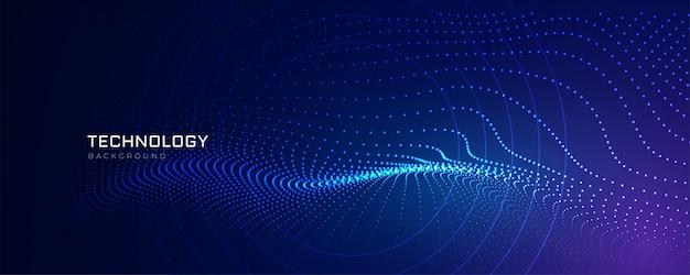Tecnología de líneas de partículas de fondo digital. vector gratuito