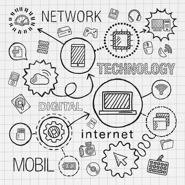 Tecnología mano dibujar conjunto de iconos integrados. boceto de ilustración infográfica. línea conectada doodle pictograma de sombreado en papel. computadora, digital, red, negocios, internet, medios, concepto móvil Vector Premium