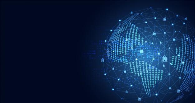 Tecnología mundo ciberseguridad icono de privacidad red de información Vector Premium
