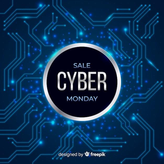 Tecnología realista ciber lunes vector gratuito
