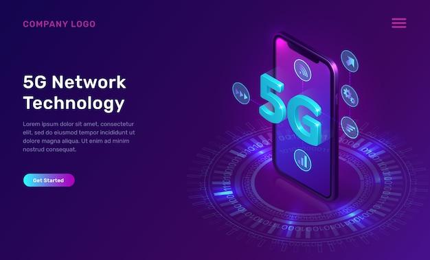 Tecnología de red 5g, concepto isométrico vector gratuito