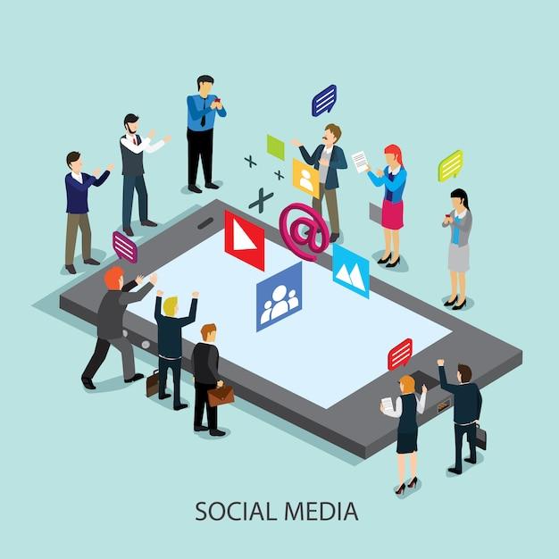 Tecnología de redes sociales de negocios Vector Premium
