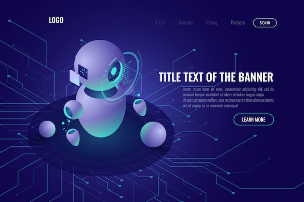 Tecnología robótica, educación de máquinas e inteligencia artificial ai icono isométrico vector gratuito