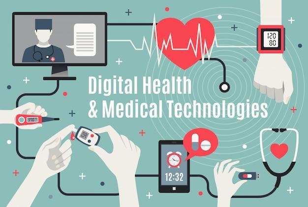 Tecnología sanitaria digital infografía plana vector gratuito