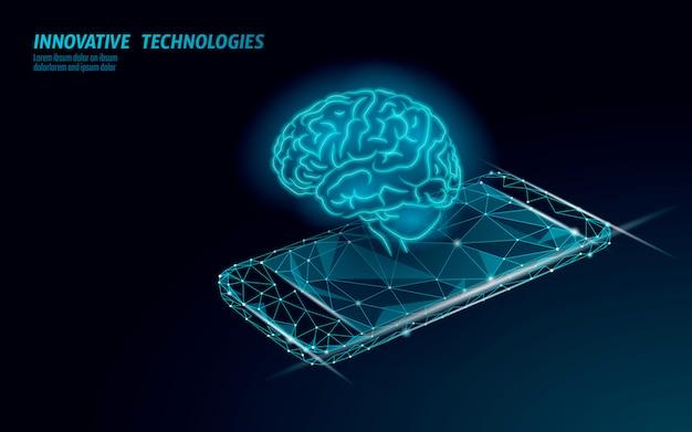 Tecnología de servicio de reconocimiento de voz de asistente virtual. soporte de robot de inteligencia artificial ai. cerebro de chatbot en la ilustración del sistema de teléfono inteligente. Vector Premium