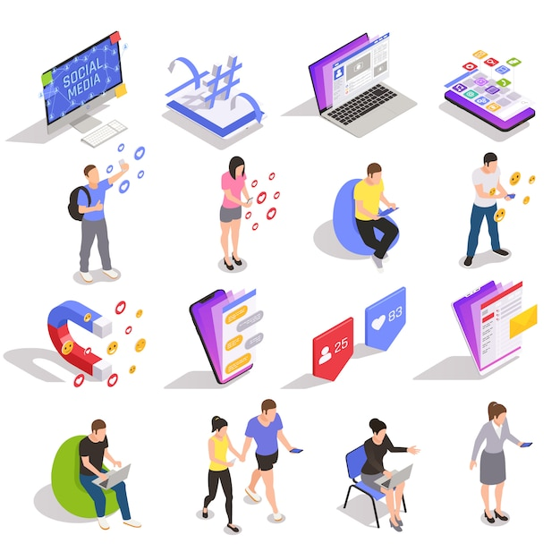 Tecnología de símbolos de redes sociales mensajería colección de iconos isométricos de personas con dispositivos sitios web aplicaciones usuarios aislados vector gratuito