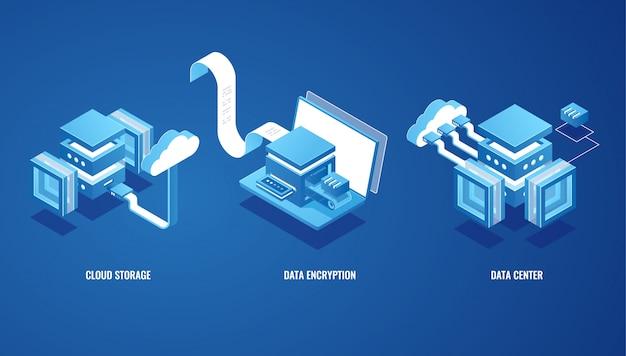 Tecnologías digitales en negocios, almacenamiento de datos en la nube, sala de servidores, billetera en línea vector gratuito