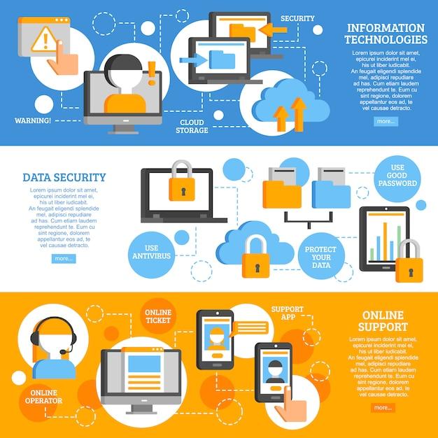 Tecnologías de la información banners horizontales vector gratuito