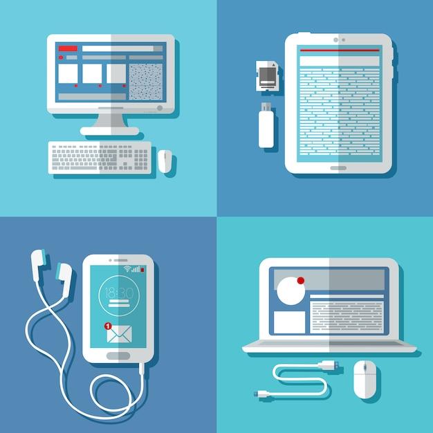 Tecnologías modernas: computadora portátil, computadora, teléfono inteligente, tableta y accesorios Vector Premium