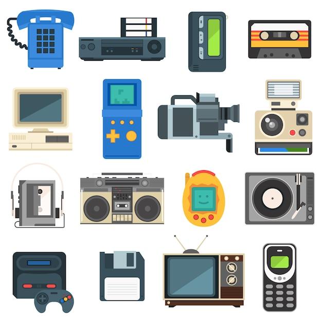 Tecnologías vintage, cámara, teléfono, audio retro, televisor. Vector Premium