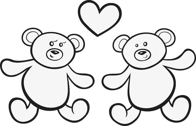 Teddy bears en amor para colorear libro | Descargar Vectores Premium