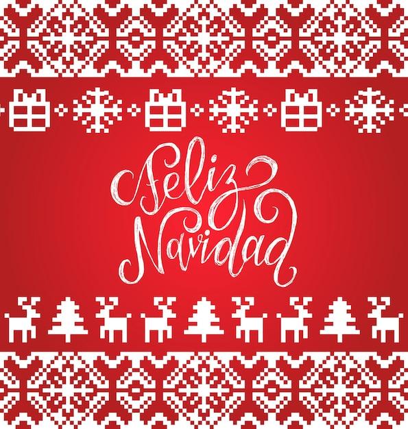 Tejido de patrones sin fisuras con letras feliz navidad traducido feliz navidad. felices fiestas marco sin fin de píxeles. elementos coloridos de la natividad y año nuevo para la plantilla de la tarjeta de felicitación. Vector Premium