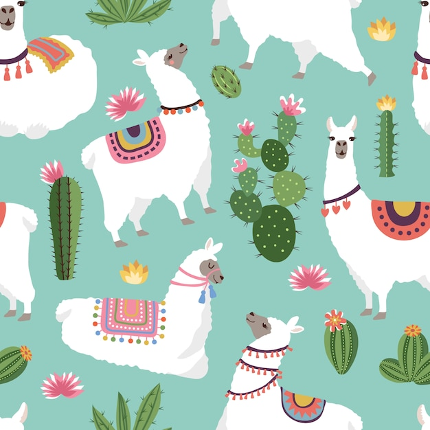 Tejido textil de patrones sin fisuras con ilustraciones de llama y cactus. vector sin patrón de alpaca, cactus verde Vector Premium