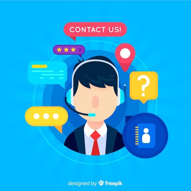 Telefonista call center diseño plano vector gratuito
