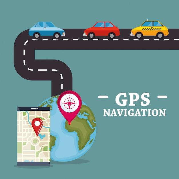 Teléfono inteligente con aplicación de navegación gps vector gratuito