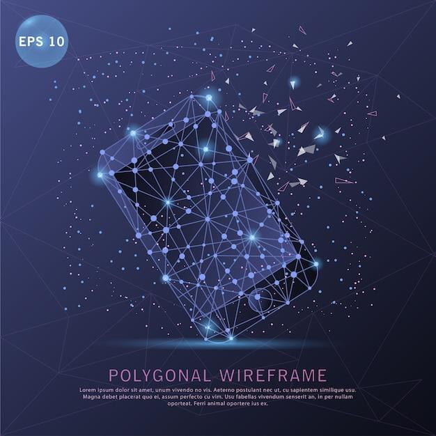 Teléfono inteligente digital dibujado marco de alambre futurista ...