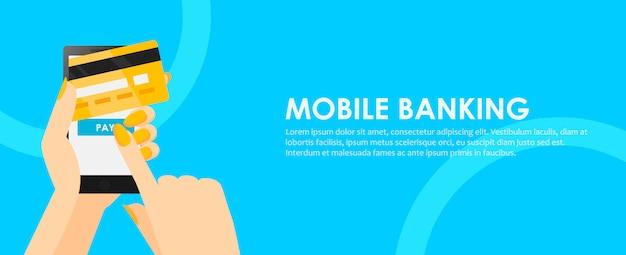Teléfono en manos con tarjeta de crédito. pago en línea desde el móvil. vector gratuito
