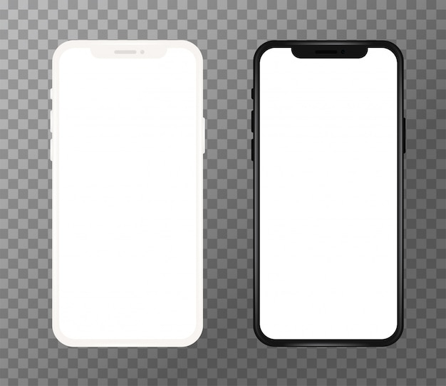 Teléfono móvil blanco y negro realista, pantalla en blanco Vector Premium