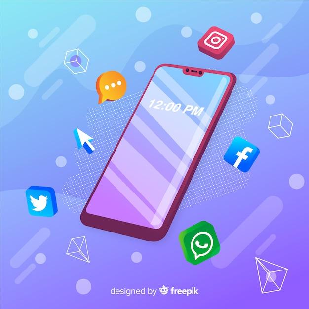 Teléfono móvil con íconos de aplicaciones vector gratuito