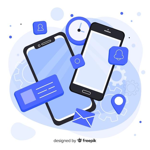 Teléfono móvil isométrico con aplicaciones y servicios. vector gratuito