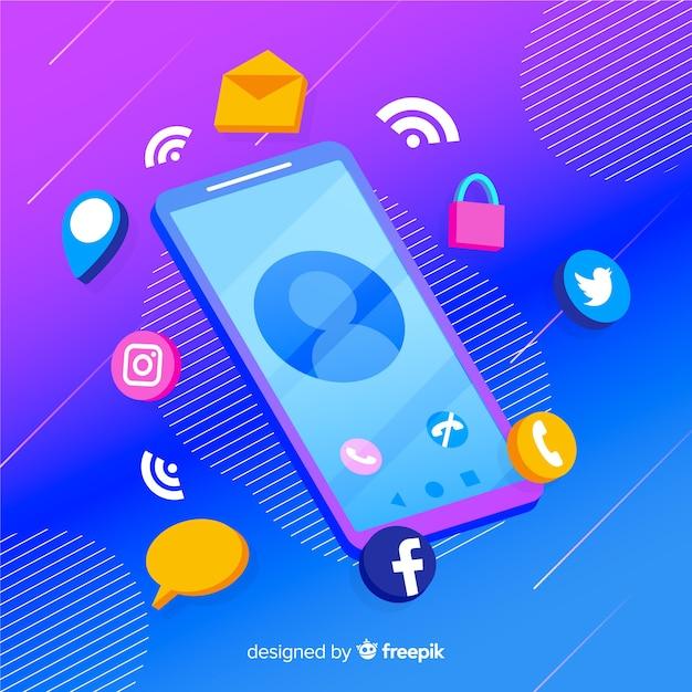 Teléfono móvil isométrico con iconos de aplicaciones vector gratuito