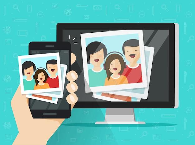 Teléfono móvil o teléfono móvil que transmite tarjetas fotográficas en la computadora de dibujos animados plana Vector Premium
