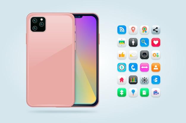 Teléfono móvil realista con juegos y aplicaciones. vector gratuito