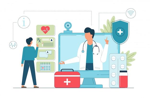 Vector Premium | Telemedicina, doctor en línea, servicio médico en línea  para pacientes.