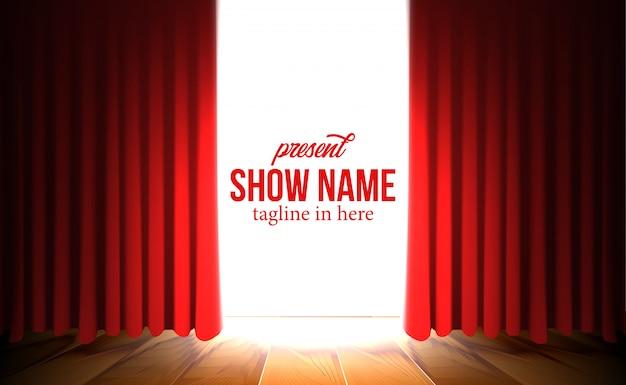 Telón de fondo de cortina roja de lujo con espectáculo de reflectores Vector Premium