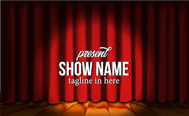 Telón de fondo de cortina roja de lujo de seda roja en el escenario con piso de madera y foco Vector Premium