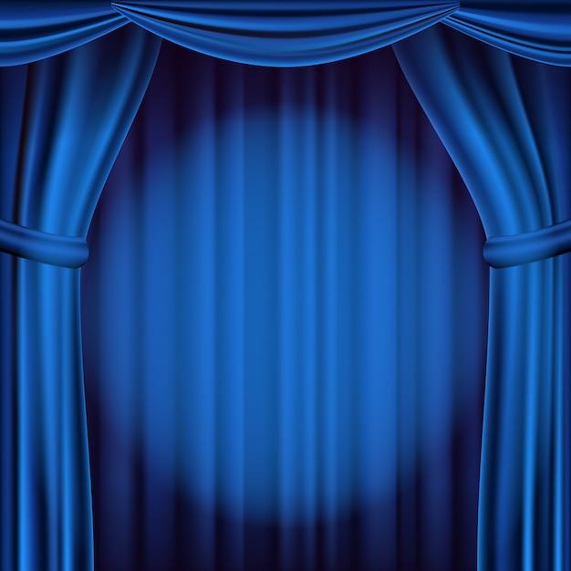 Telón de fondo de la cortina de teatro azul. fondo de teatro, ópera o cine. ilustración realista Vector Premium