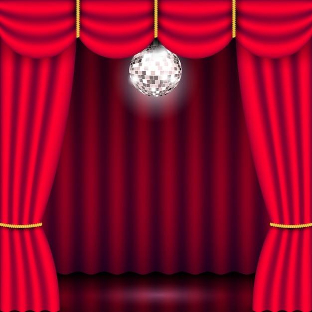 Telón de fondo de escenario de teatro con cortina roja y bola de discoteca plateada de espejo brillante. mostrar cartel de concierto de rendimiento de fondo. ilustración 3d realista Vector Premium