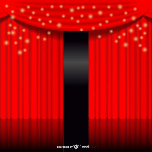 Telón rojo brillante vector gratuito