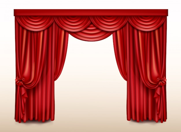 Telón rojo para teatro, cortina de escena de ópera vector gratuito