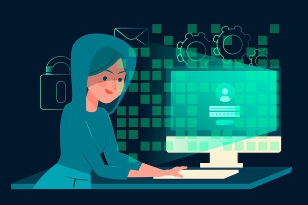 Tema de actividad hacker vector gratuito