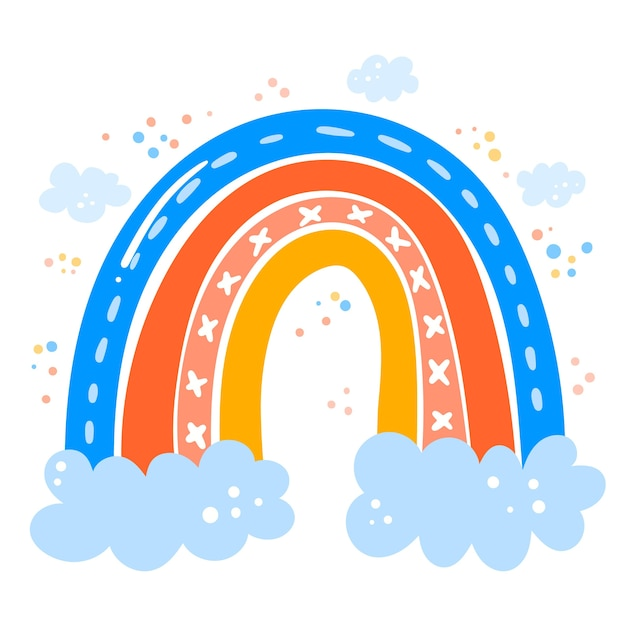 Tema del arco iris de dibujo a mano vector gratuito