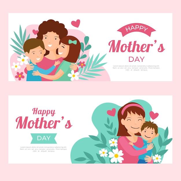 Tema de banners del día de las madres vector gratuito