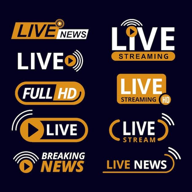 Tema de banners de noticias de transmisiones en vivo vector gratuito