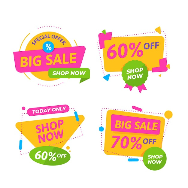 Tema de colección de banners de venta colorido vector gratuito