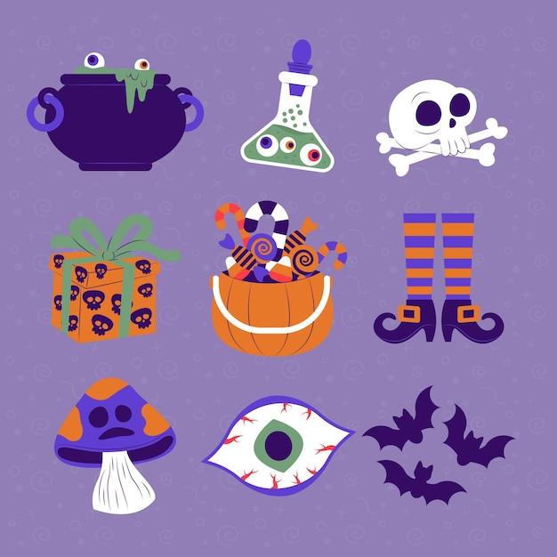 Tema de colección de elementos de halloween vector gratuito