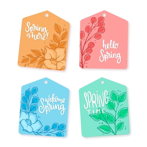 Tema de colección de etiquetas de primavera dibujado a mano vector gratuito