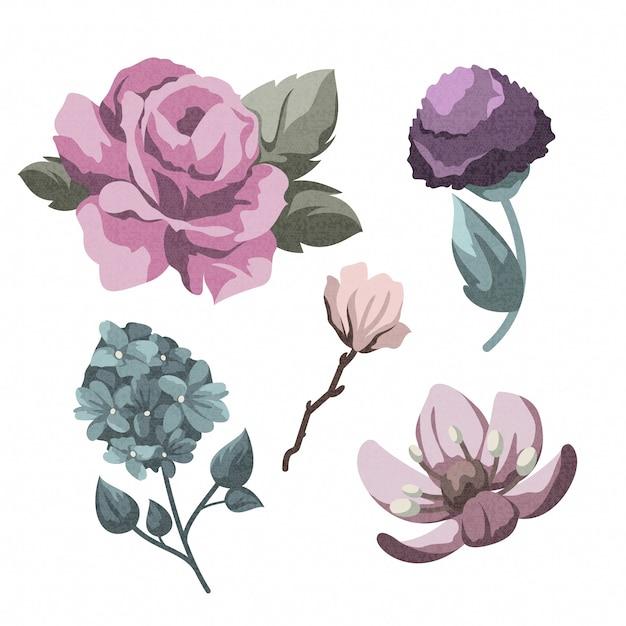 Tema de colección de flores de primavera vintage vector gratuito
