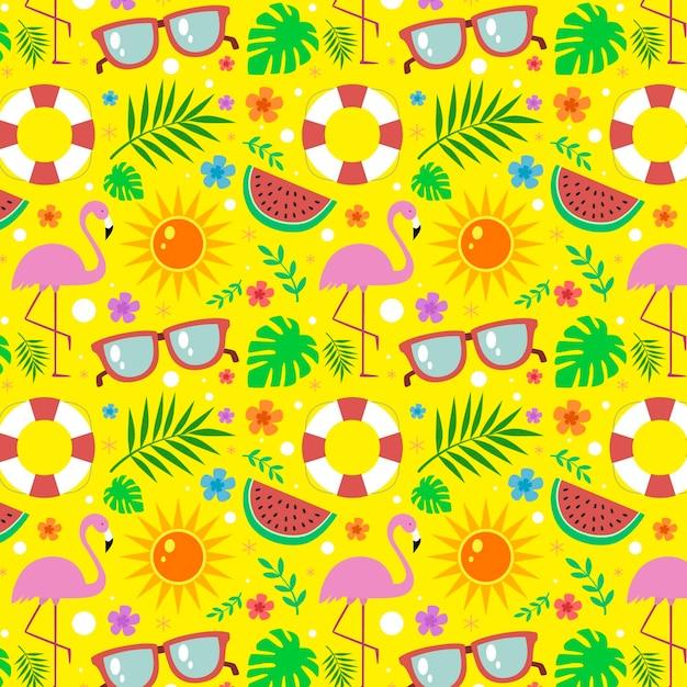 Tema de colección de patrones de verano vector gratuito