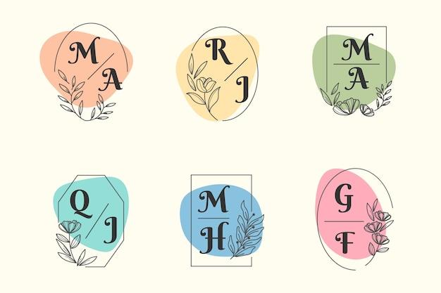 Tema colorido de la colección del monograma de la boda vector gratuito
