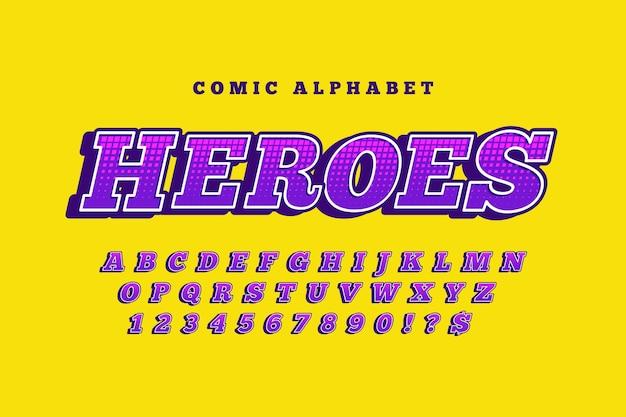 Tema cómico 3d para colección de alfabeto Vector Premium